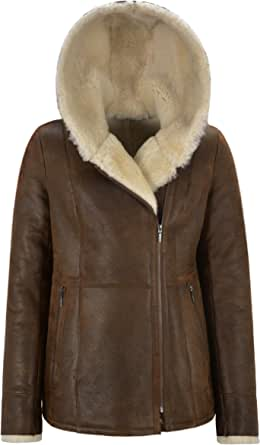 Carrie CH Hoxton Giacca in Montone Shearling Volley B3 Flying Antique Rust Beige con Cappuccio in Pelliccia NV 39
