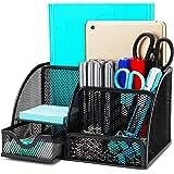 Bingobang Desk Organizer with Drawer/Metal Mesh Desk Tidy/7 Storage Compartment/Pen Holder/Multifunctional Organizer(Black)
