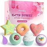 Homasy 6 Pezzi Bombe da Bagno, con Oli Essenziali Naturali, Set di Sali da Bagno con Forme Diverse Creativa, Trattamento Spa