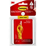 Command Medium Utility Hooks, Value Pack of 6 Hooks and 12 Command Adhesive Strips, Suitable for hanging items up to 1.3 kg