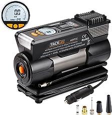 Luftkompressor, Tacklife ACP1C Auto Kompressor, 12V tragbare digitaler Auto-Luftpumpe mit hoher Pumpleistung 35L/ min, große LCD-Anzeige und LED Lampe, inkl. 4 Adapter; Sicherung; Transporttasche