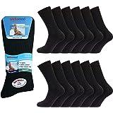 12 pairs Mens 100% Cotton Big Foot Diabetics Dark Assorted Black Navy Grey Non-Elastic Socks, Mens Soft Top Rib Socks, size U