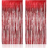 Party Propz 3 ft X 6 ft 10 inches Red Metallic Tinsel Foil Fringe Curtains for Birthday Marriage Engagement Bridal Shower Bab