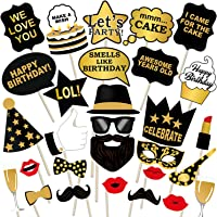 party propz birthday photo booth props 29pcs set with funny crown fun mask hats beard happy face wig mustache prop for…