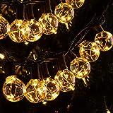Quntis 11,7 m IP65 LED lichtketting buiten, 30 stuks G40 gloeilampen E12 warm wit + 3 reservelampen, 155 leds, waterdicht out