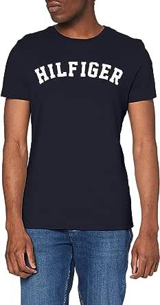 Tommy Hilfiger Men's Ss Tee Logo T-Shirt, Grey (Magnet), Small (Manufacturer size: SM)