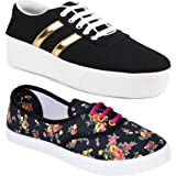 Shoefly Women Multicolour Latest Collection Sneakers Shoes-Pack of 2 (Combo-(2)-611-1044)