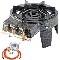 NJ GB-17 Cast Iron Triple Ring Burner 9kW Commercial High Power Boiling with Gas Regulator Set