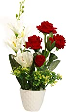 Artificial Flowers Red and White in Pot for Christmas and Party Decoration(4 Imported Rose, 1 Orchid Stick)