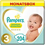 Pampers Premium Protection Größe 3, 6–10 kg, 204 Windeln, Monatsbox