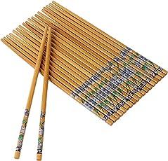Kitchen Delli Natural Designer Round Bamboo Reusable Chopsticks, 9.5-inch(Brown) - Set of 10