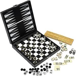 Modiano Scatola Multigioco 8 in 1 in Similpelle - Scacchi, Dama, Backgammon, Domino, Poker, Cribbage, Dadi puntati, Dadi Poker