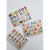 بازل خشبي تعليمي للأطفال حروف عربي وحروف انجليزيه وارقام