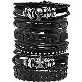 MILAKOO - 10 braccialetti da uomo in pelle a corda intrecciata e in lega, stile punk