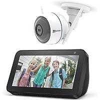 Echo Show 5 – Nero +EZVIZ ezTube 1080p Telecamera di sicurezza, compatibile con Alexa