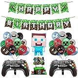 smileh Gaming Cumpleaños Decoracion Globos Pancarta de Cumpleaños de Pixel Para Fiestas Adornos para Pastel Videojuegos Decor