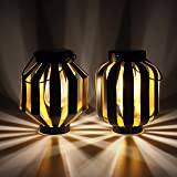 Gadgy Lanterne Exterieur Solaire Noire et Or | Lot De 2 | Lanternes Solaires De Jardin | Eclairage Extérieur A Led Avec Conce