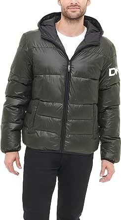 DKNY Men's Water Resistant Ultra Loft Hooded Logo Puffer Jacket Down Alternative Coat