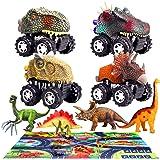 aovowog 9Piezas Dinosaurios Juguetes Niños 2 3 4 5 6 7 8 Años,Juego Educativo de Dinosaurios con Coches de Dinosaurio,Figura