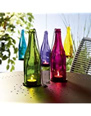 GOYAL® Multi Color Glass Hanging Tea-Light Holders Bottles, Size: 9 inch x 2.5 inch, Reusable Tea Light Holder/Comes with a Hanging Chain, (Set of 4)