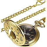 Reloj de Bolsillo Dorado Vintage Reloj de Hombres de Acero con Cadena