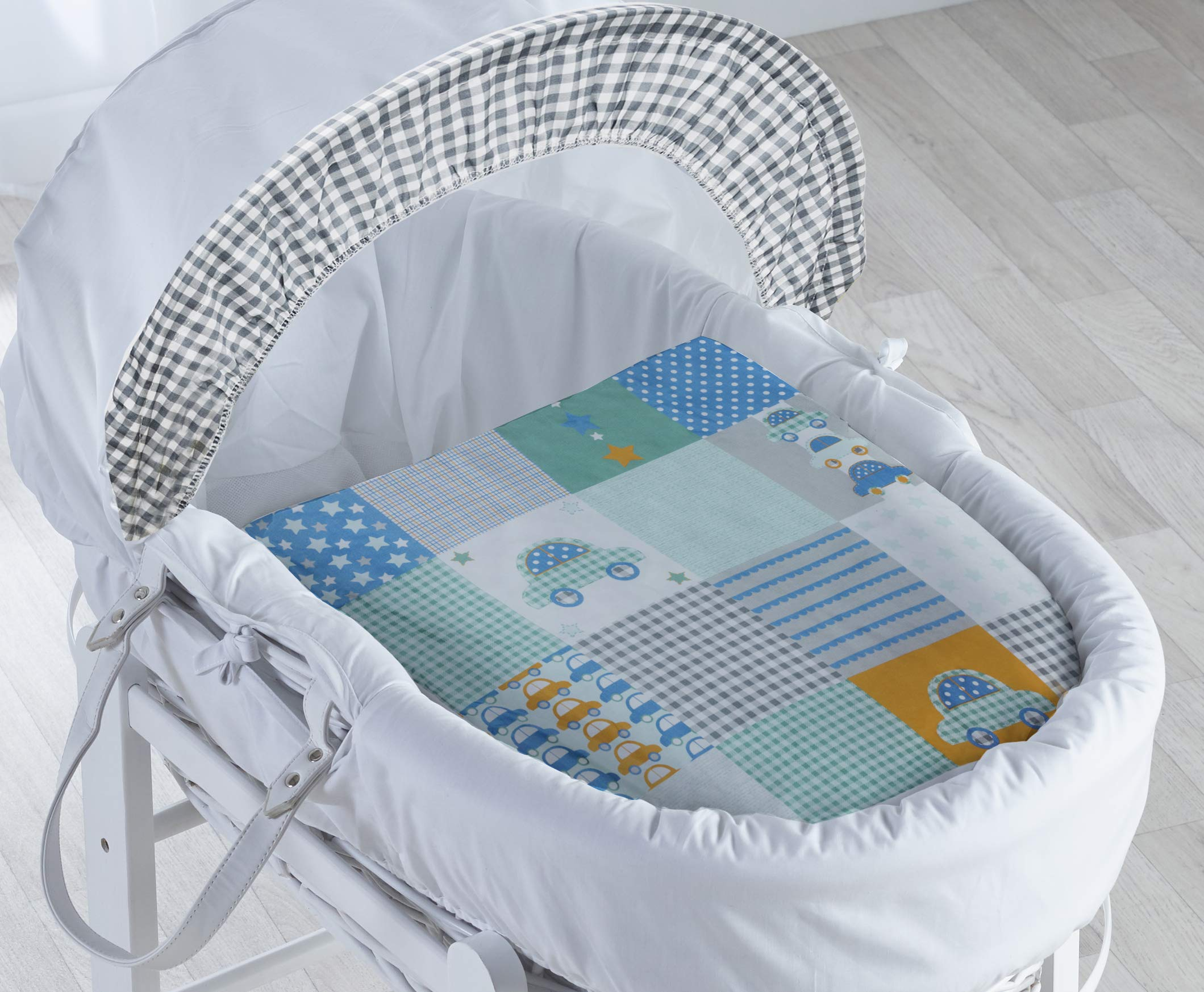 Vintage Cars White Wicker Moses Basket with Deluxe White Rocking Stand Elegant Baby Vintage style Elegant Baby Exclusive moses basket Opulent cotton blend fabric with a luxurious soft padded surround Unique adjustable deluxe rocking stand with soothing front to back motion 2
