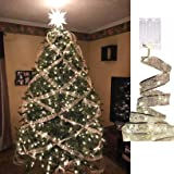 Sunnysam Fairy Lights Xmas Tree, 13ft/ 4m 40 LED Battery Operated String Lights Waterproof for Christmas New Year Gift Box Wi