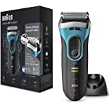 Braun Series 3 ProSkin 3080s Electric Shaver, Black/Blue, Rechargeable and Cordless Wet and Dry Electric Razor for Men…