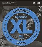 D'Addario Cordes à filet plat pour guitare électrique D'Addario Chromes ECG25, Light, 12-52