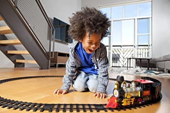 BATTERY OPERATED LIGHT SOUND SMOKE CHOOCHOO CLASSICAL TRAIN TRACK SET FOR KIDS