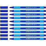 Schneider 152203 - Bolígrafo de punta redonda (10 unidades, incluye capuchón, tinta azul), color azul