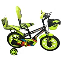 """Rising India 14"""" Cartoon Character Double Seated Kids Bicycle for 3-5 Years Semi Assembled"""
