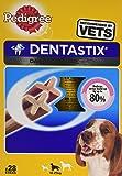 Pedigree Dentastix Hundeleckerli für mittelgroße Hunde, Kausnack mit Huhn- und Rindgeschmack gegen Zahnsteinbildung für gesunde Zähne, 4er Pack (4 x 28 Stück)