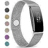 AK Compatible con Fitbit Inspire HR, Cierre magnético de Malla de Metal de Acero Inoxidable, Correa de Repuesto para Fitbit I