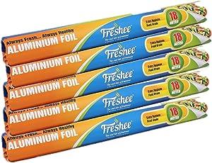 FRESHEE ALUMINIUM FOIL ROLL 18 Mtrs (Pack of 5)