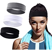 WILLBOND 3 Pieces Elastic Sport Headbands Yoga Cotton Headbands Mixed Colors Workout Sweatbands Non Slip Exercise…