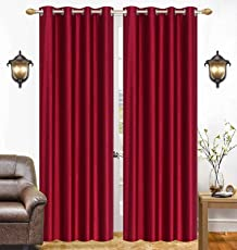 Soulful Creations Polyester Solid Curtains for Door 7 feet, 2 Piece, Maroon