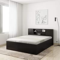 Amazon Brand - Solimo Costa Engineered Wood Queen Bed with Storage ( Brown , Wenge)