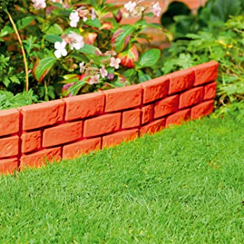 Charmant Parkland® Instant Brick Effect Garden Border Lawn Edging Plant Border    Simply Hammer In (Pack Of 8, Terracotta)