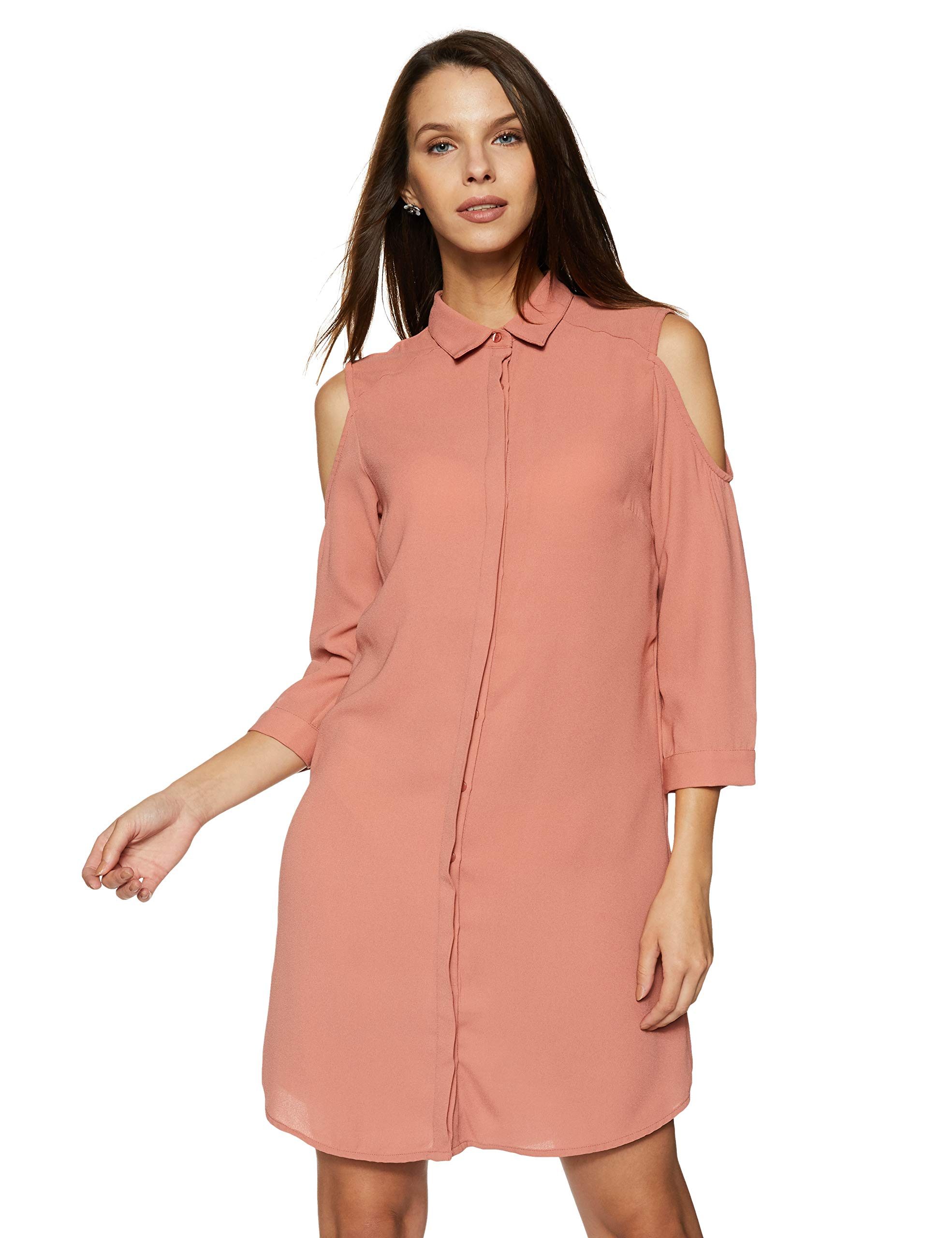 Amazon Brand – Symbol Women's Shirt Knee-Long Dress