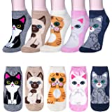 5 Pairs Womens Ankle Socks Cute Animal Cat Dog Funny Cotton Ladies Socks for Women Girls Gifts