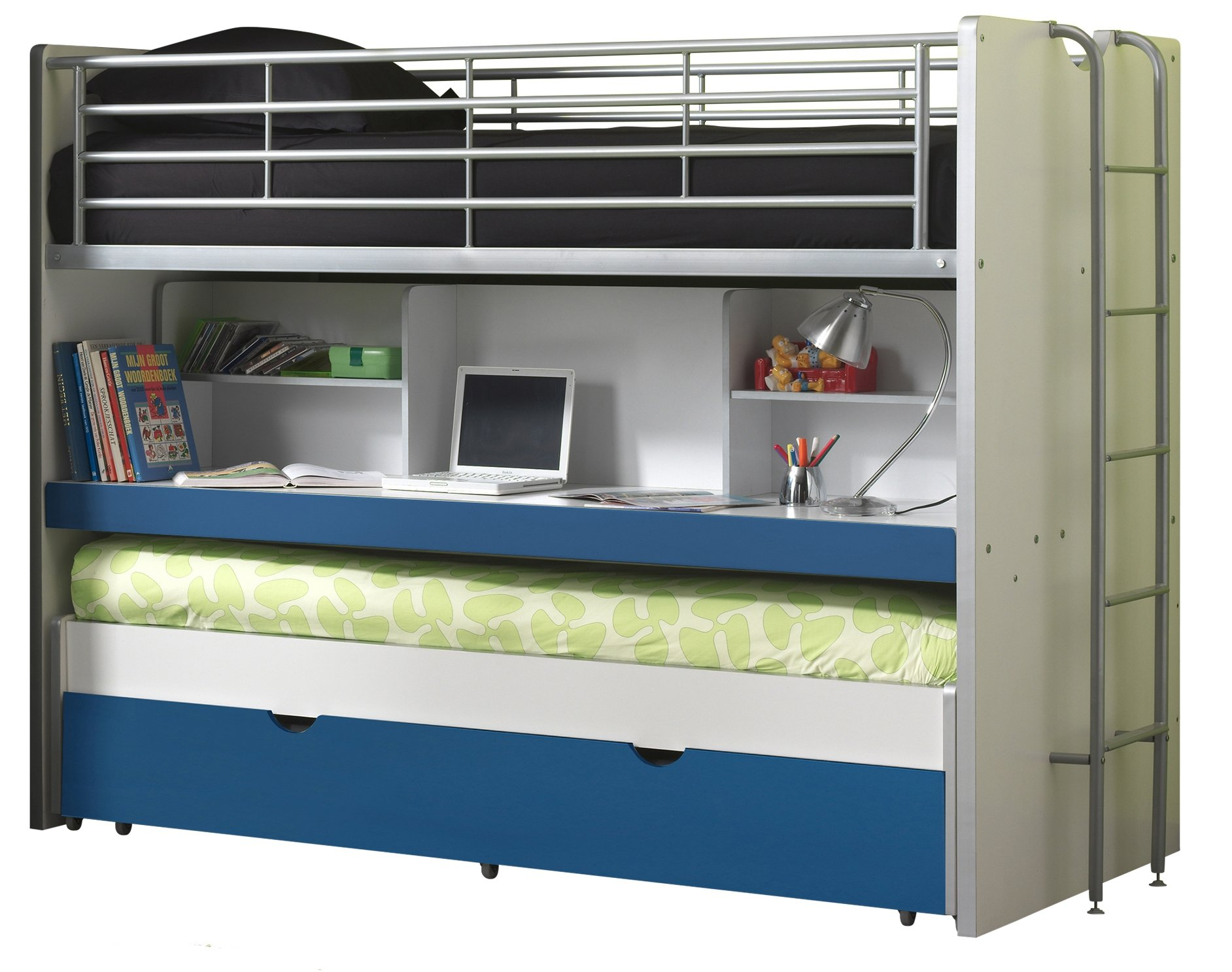 Vipack BOHS8007Bunk Beds Bonny, 207x 116x 98cm, Mattress 90x 200cm, 07, White/Blue Vipack Cabin bed with 2Sleeping surfaces 90x 200cm and 1drawer. Extendable Work Surface. Chipboard White MDF fronts and varnish with fall protection 1