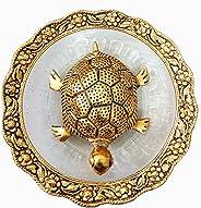 Crafts Metal Feng Shui Tortoise On Plate Showpiece (Golden, Diameter:5.5 Inch) (Ideal for Diwali Gift)