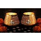 TIED RIBBONS Golden Tealight Candle Holder for Diwali Home Decoration (Set of 2)