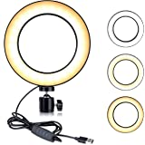 TIKTOK ring Light with Screw Holder For Tripod, LED Dimmable Mini ring Light For YouTube Videos, Selfie Makeup Lamp with 3 Co