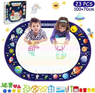 Colouring Writing Booklet Learning Drawing Game LEADSTAR Water Magic Doodle Mat 23 PCS Water Drawing Painting Mat Reusable Educational Toys for Toddlers Children Age 2 3 4+ Painting Toy 100*70