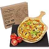 Wemk Pierre à Pizza en Cordiérite - Pierre Pizza avec Bambou Pelle à Pizza, 2 Pièces Inclut Pierre à Pizza Rectangulaire & Pe