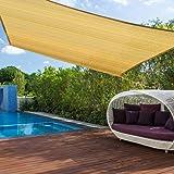 مظلة شمسية شبكية واقية من الاشعة فوق البنفسجية مستطيلة الشكل من كيوزي، مقاس 3 × 5 متر، لون رملي