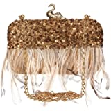Anekaant Quill Sequins Embellished Faux Silk Clutch