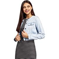 oodji Ultra Donna Giacca in Jeans Senza Colletto